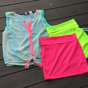 3 piece bundle, AE top size M, PAC sun skirts, M